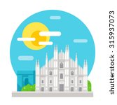 milan cathedral flat design... | Shutterstock .eps vector #315937073