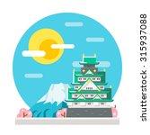 osaka castle flat design... | Shutterstock .eps vector #315937088