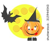 silly halloween pumpkin with... | Shutterstock . vector #315944543