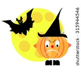 angry halloween pumpkin with... | Shutterstock . vector #315944546