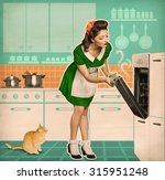 pin up young woman cooking in... | Shutterstock . vector #315951248