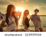 friends funny dance on the... | Shutterstock . vector #315959534