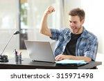 euphoric winner happy man using ... | Shutterstock . vector #315971498