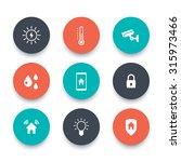 smart house  round icons set ...