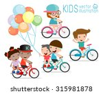kids riding bikes   child... | Shutterstock .eps vector #315981878