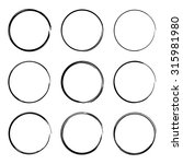 set hand drawn ovals  felt tip... | Shutterstock .eps vector #315981980