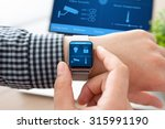 man hand in watch with program... | Shutterstock . vector #315991190