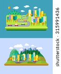 vector flat landscapes with... | Shutterstock .eps vector #315991436