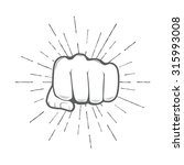 fist with sunbursts  vector... | Shutterstock .eps vector #315993008