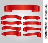 red ribbon set vector eps 10 | Shutterstock .eps vector #316001033