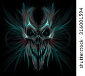 dark screaming skull. vector... | Shutterstock .eps vector #316001594