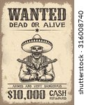 vintage wild west wanted poster ... | Shutterstock .eps vector #316008740