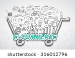 e commerce text  with creative... | Shutterstock .eps vector #316012796