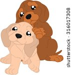 cartoon dachshunds | Shutterstock .eps vector #316017308