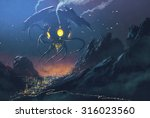 sci fi scene of the alien ship... | Shutterstock . vector #316023560