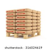 Cement Bags Stack On Wooden...