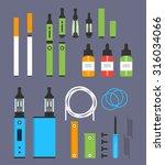 vaping colored flat design set | Shutterstock .eps vector #316034066