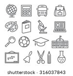 school and education line icons | Shutterstock .eps vector #316037843