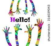 hello  hands up. vector | Shutterstock .eps vector #316039043