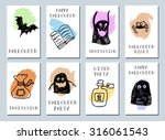 halloween cards. made with ink. ... | Shutterstock .eps vector #316061543