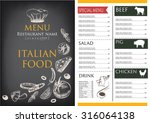 italian food menu restaurant... | Shutterstock .eps vector #316064138