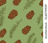 pine nuts hand drawn seamless... | Shutterstock .eps vector #316070909