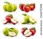 set of ripe green and red apple ... | Shutterstock . vector #316075208