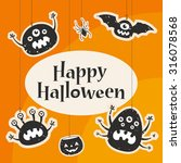 happy halloween title. scary... | Shutterstock .eps vector #316078568