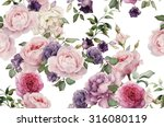 Stock photo seamless floral pattern with roses watercolor 316080119