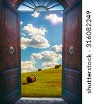 Old Open Door And Rural...