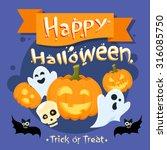 happy halloween banner...   Shutterstock .eps vector #316085750