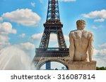 Male Statue On The Trocadero...