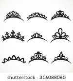 set of silhouettes of tiaras of ... | Shutterstock .eps vector #316088060