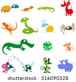 simple vector animals cartoon   ... | Shutterstock .eps vector #316090328