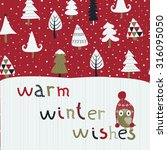 christmas card with cute...   Shutterstock .eps vector #316095050