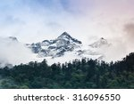 Cloudy Sky Snow Mountain With...