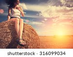 young and handsome girl sitting ... | Shutterstock . vector #316099034