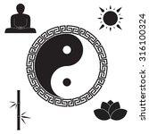 zen icon set.yin yang  frame ... | Shutterstock .eps vector #316100324