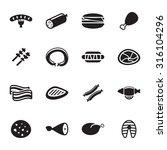 vector black meat icon set on... | Shutterstock .eps vector #316104296
