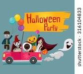 halloween ghost on pickup ... | Shutterstock .eps vector #316104833