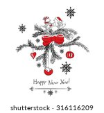 christmas card with birds new... | Shutterstock .eps vector #316116209