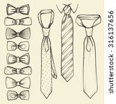 set of vector sketched ties and ... | Shutterstock .eps vector #316137656