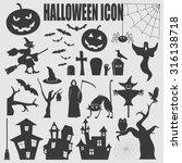 halloween icon set. holiday... | Shutterstock .eps vector #316138718