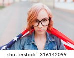 young beautiful woman posing at ... | Shutterstock . vector #316142099