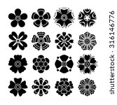 set of 16 isolated black flowers | Shutterstock .eps vector #316146776