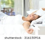 happy girl waking up stretching ... | Shutterstock . vector #316150916