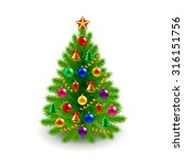 green decorated christmas tree... | Shutterstock .eps vector #316151756