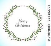 christmas vector floral wreath... | Shutterstock .eps vector #316152776
