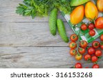 fresh ripe vegetables and herbs ... | Shutterstock . vector #316153268