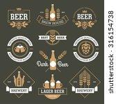 set of  beer labels  emblems ... | Shutterstock .eps vector #316154738